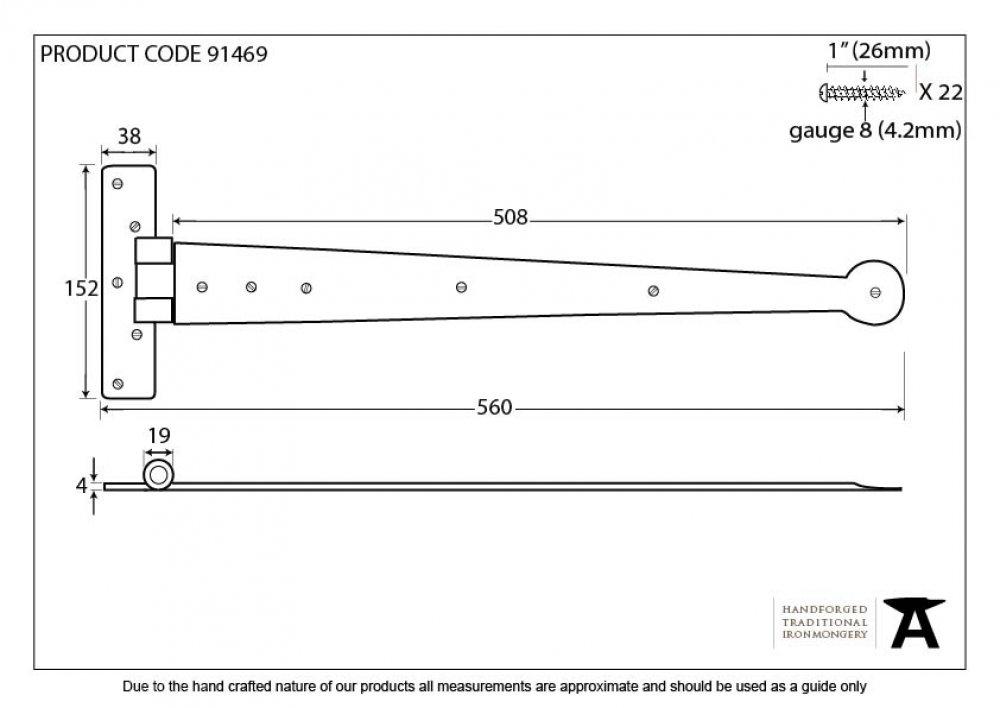 "External Beeswax 22"" T Hinge (pair) image"