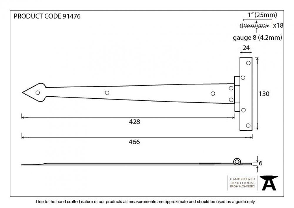 "External Beeswax 18"" Arrow Head T Hinge (pair) image"