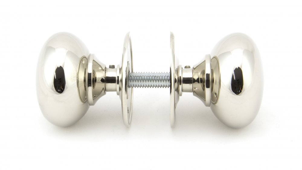 Polished Nickel 57mm Mushroom Mortice/Rim Knob Set image