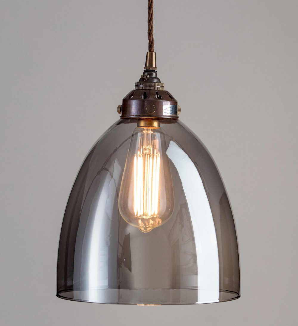 new products e7c1e 9d427 Bell Smoked Glass Pendant Light - Large