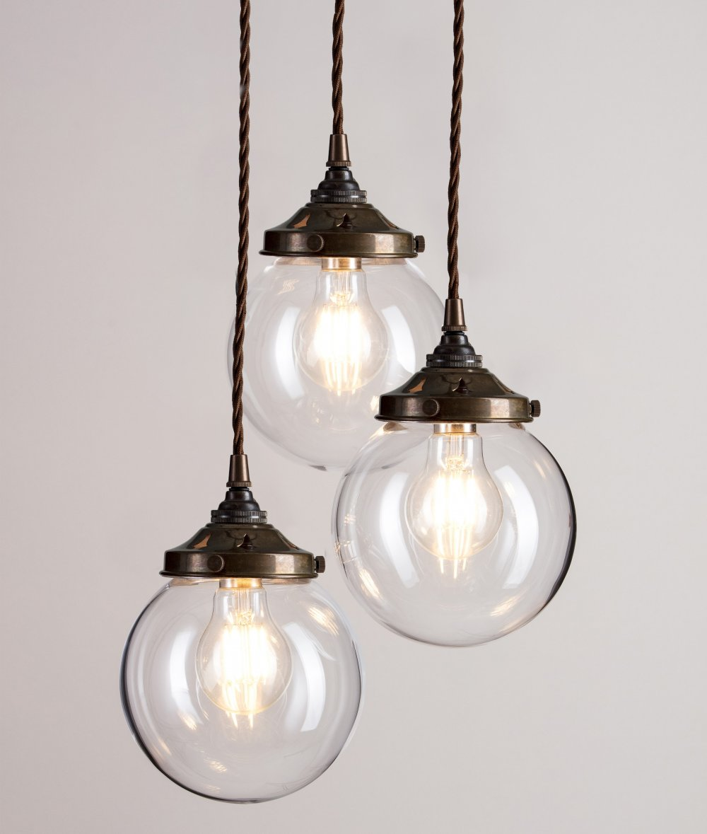 Picture of: Glass Globe Cluster Pendant Light With Antique Brass Fittings