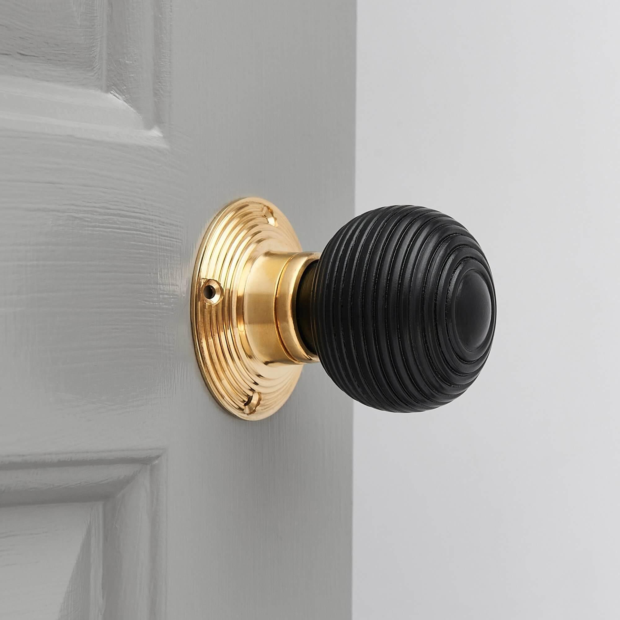 Ebonised Beehive Door Knobs (Pair) - Polished Brass Collar & Rose