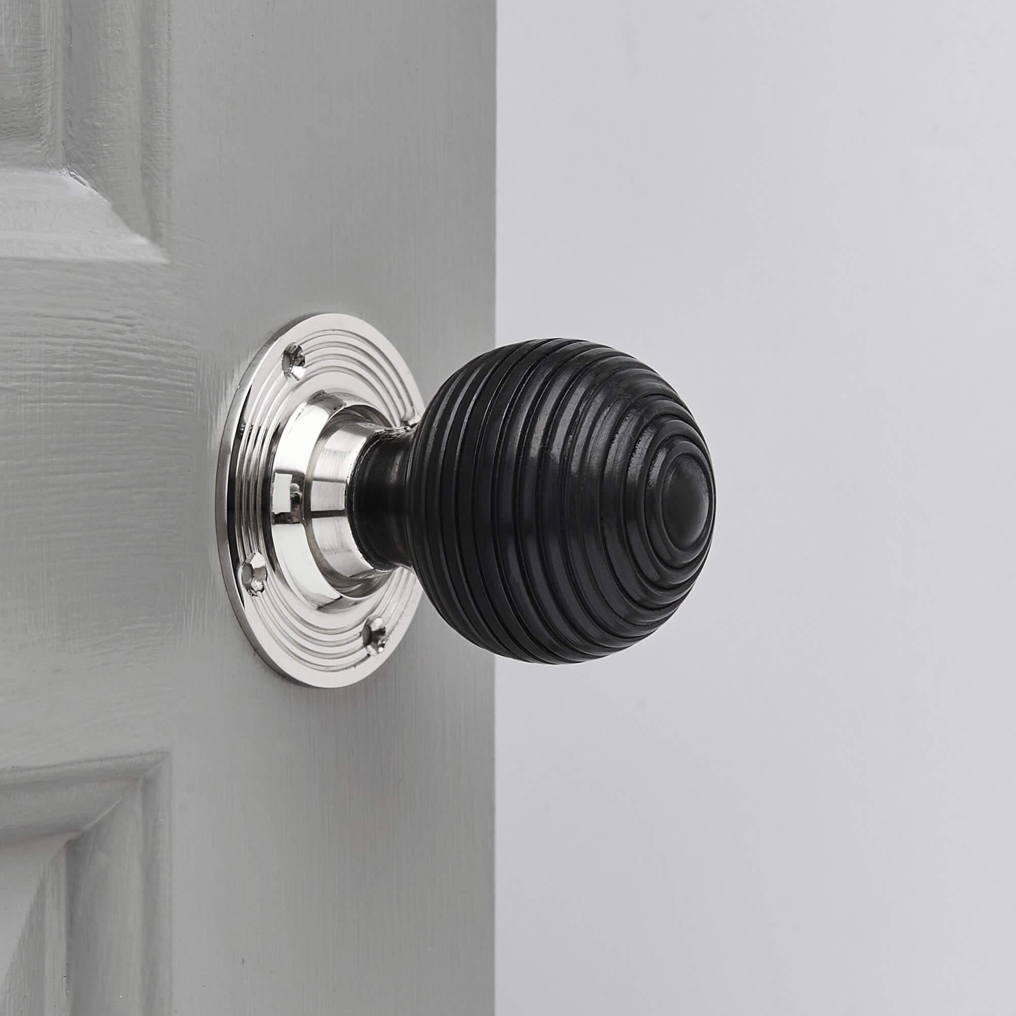 Ebony Wood Beehive Door Knobs (Pair) - Chrome Collar & Rose