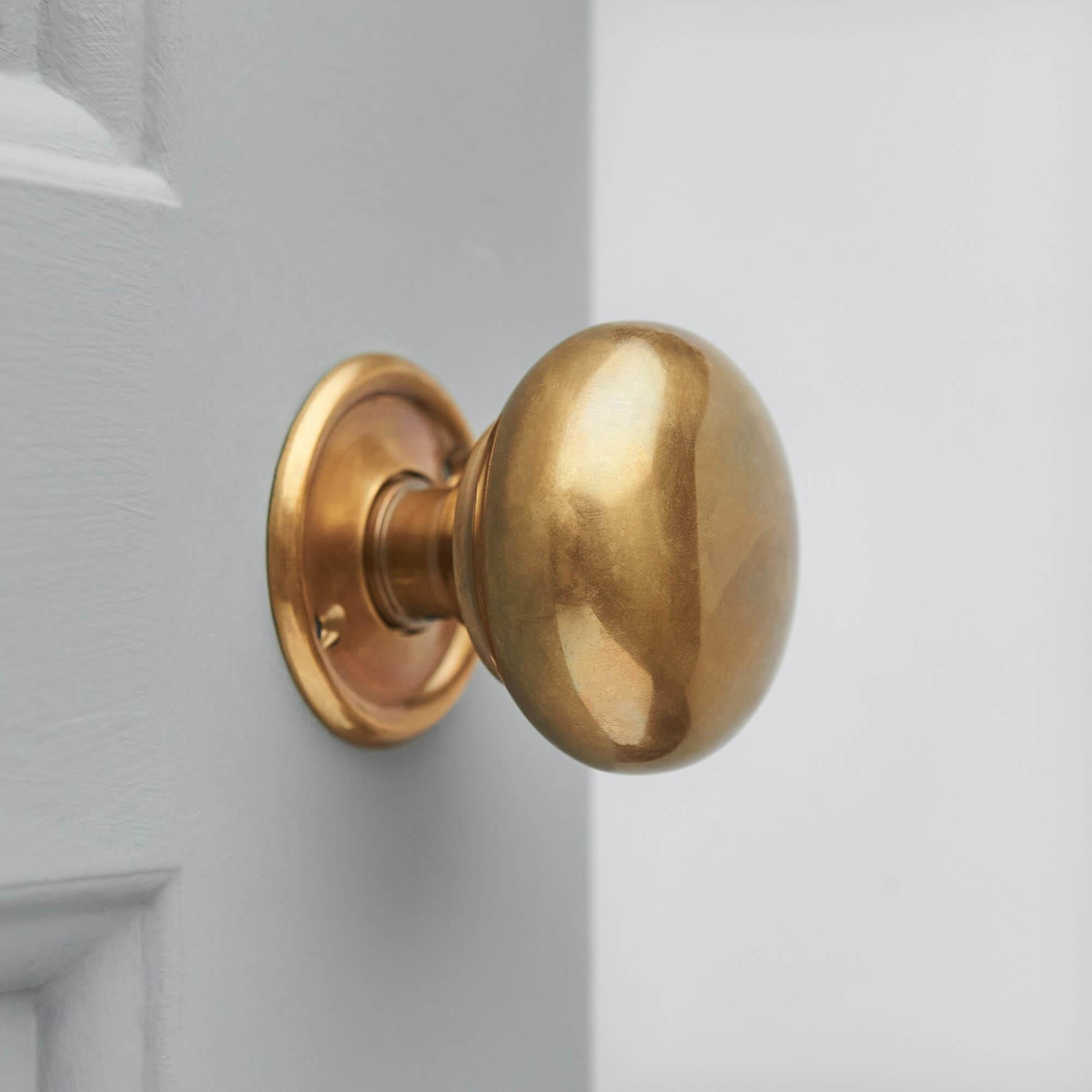 Cottage Bun Door Knobs (Pair) - Antique Brass