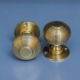 Aged Brass Beehive Mortice/Rim Knob Set image