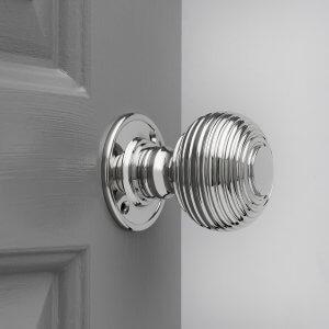 Beehive Large Door Knobs (Pair) - Nickel