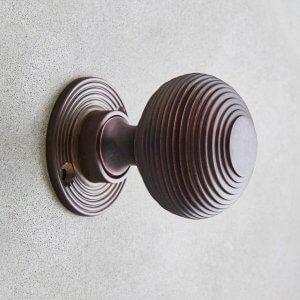 Beehive Door Knobs (Pair) - Aged Bronze