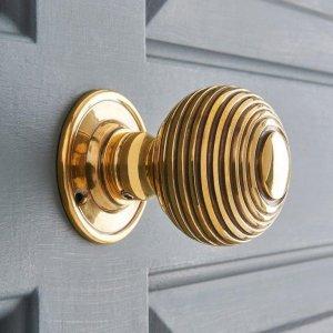 Beehive Large Door Knobs (Pair) - Brass