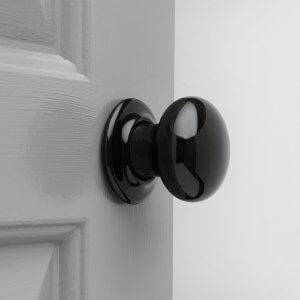 Porcelain Door Knobs (Pair) - Black