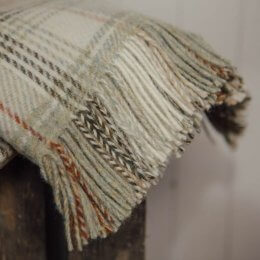 Sage Check Throw - Pure New Wool save 40%