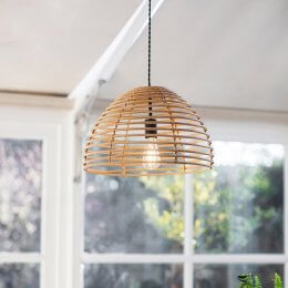Bamboo & Steel Pendant Light - SAVE 15%