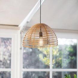 Bamboo & Steel Pendant Light - SAVE 15%