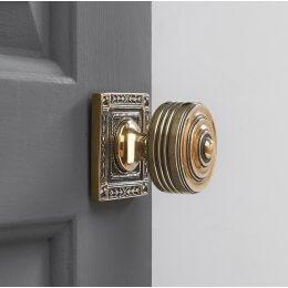 Georgian Decorated Rose Door Knobs (Pair) - Brass