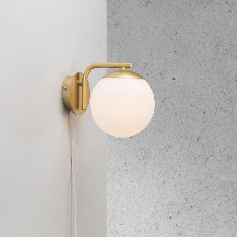 Opal Glass Brass Wall Light