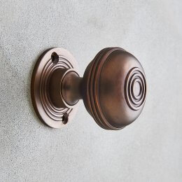Regency Style Door Knobs (Pair) - Aged Bronze