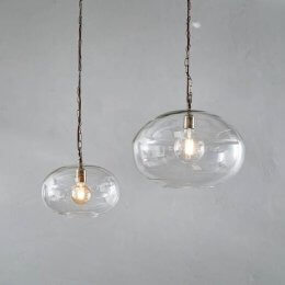 Glass & Brass Pendant Light - Oval