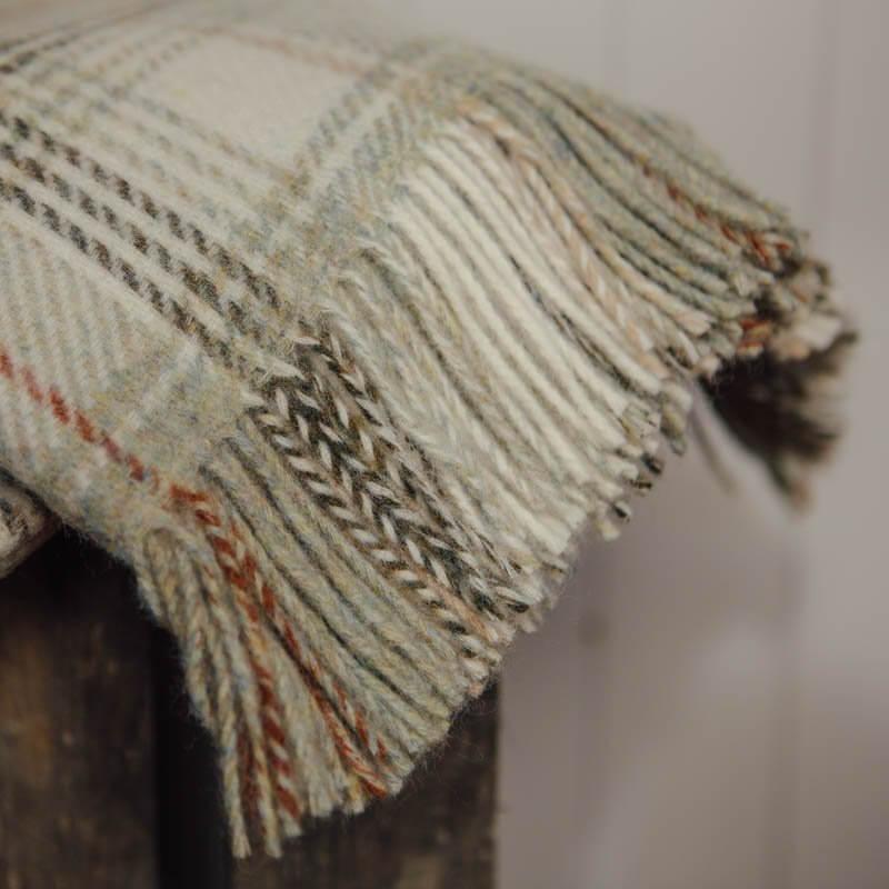Sage Check Throw - Pure New Wool save 40%