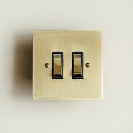 2 Gang 2 Way Rocker Switch - Polished Brass