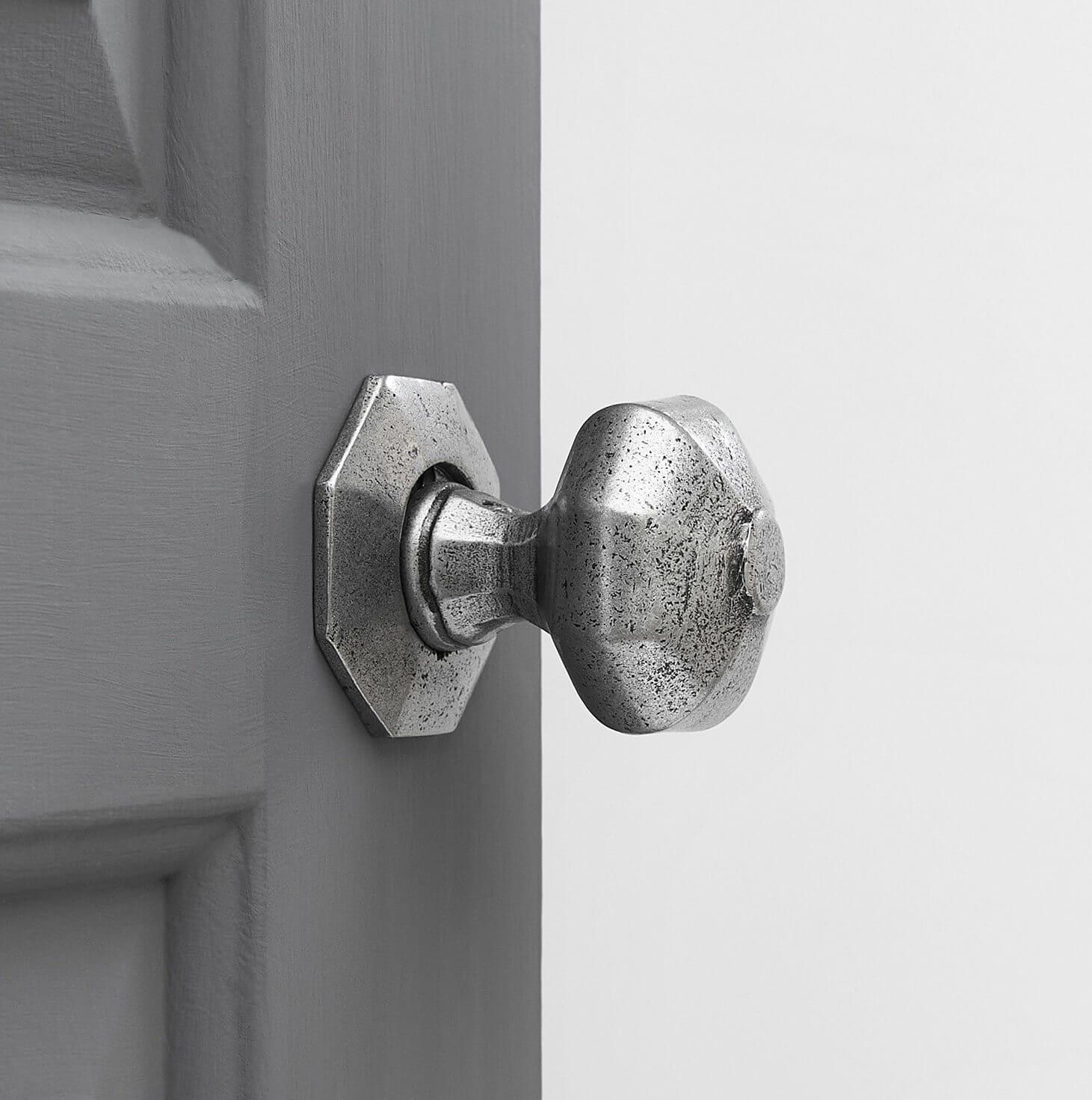 Hand Forged Octagonal Door Knobs (Pair) - Pewter
