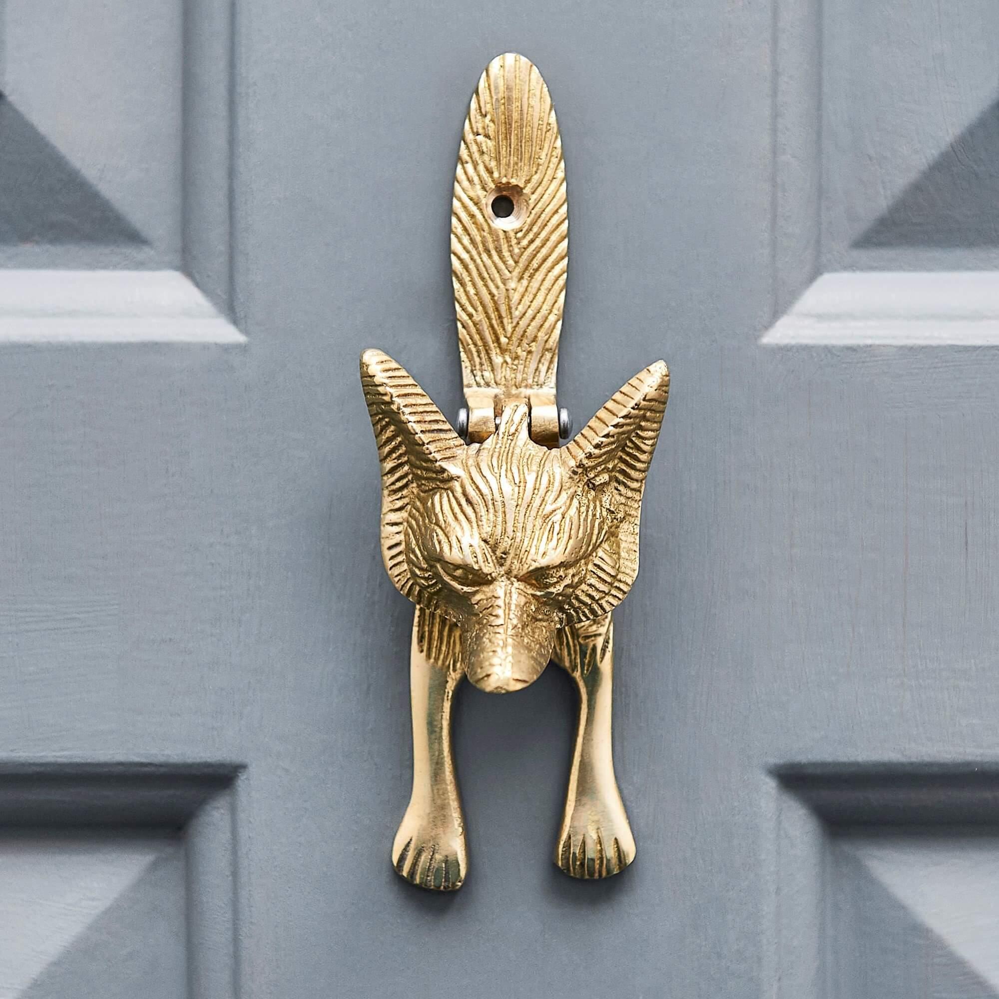 Fox Door Knocker - Aged Brass