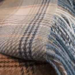 Aqua Check - Pure New Wool Throw SAVE 40%