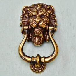 Lions Head Door Knocker - Aged Brass