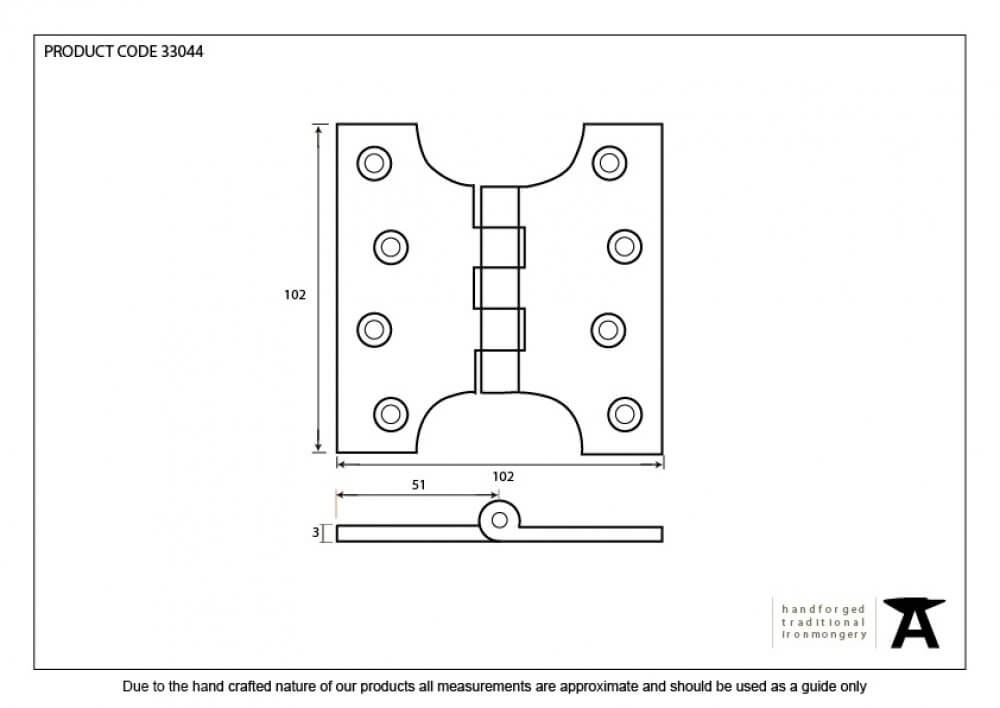 """Pewter 4"""" x 2'' Ball Bearing Parliament Hinge (pair) image"""