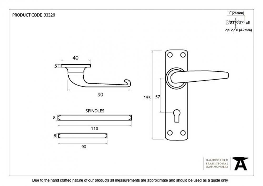 Black Smooth Lever Lock Set image