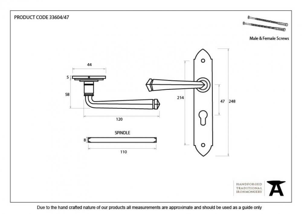 Pewter Gothic Lever Euro Lock Set image