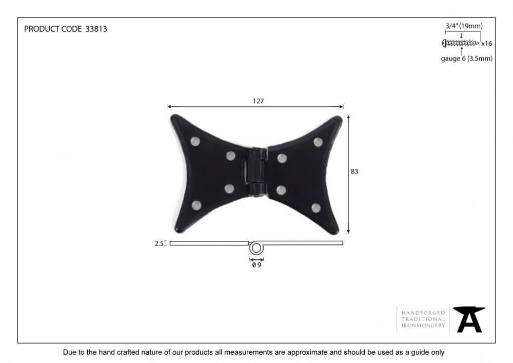 Black 5'' Butterfly Hinge (pair) image