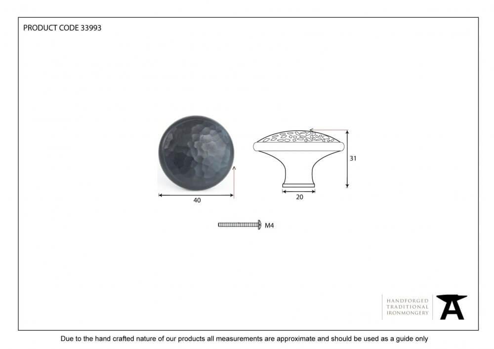 Black Beaten Cupboard Knob - Large image