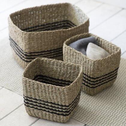 Seagrass Storage Baskets - Striped (Set of 3)
