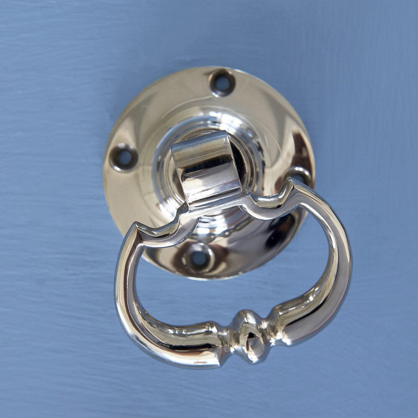 Dutch Drop Ring Door Handles - Nickel