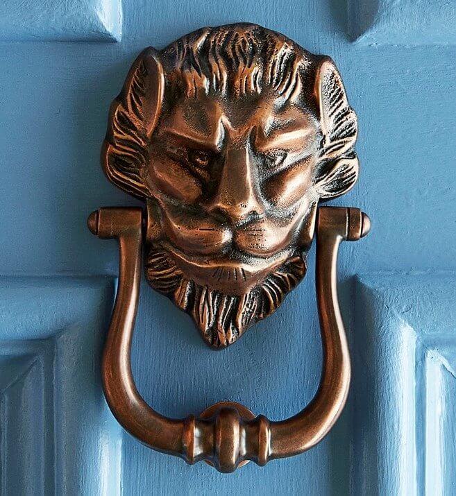 Large Lions Head Door Knocker - Autumn Bronze