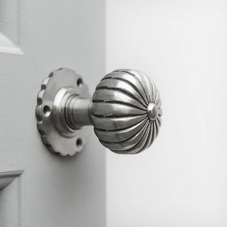 Hand Forged Flower Door Knobs (Pair) - Pewter