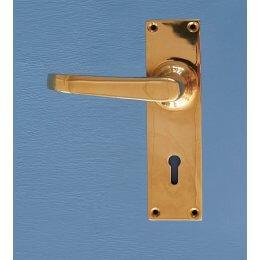 Stafford Lever Handles (Pair) On Rectangular Backplate- Brass