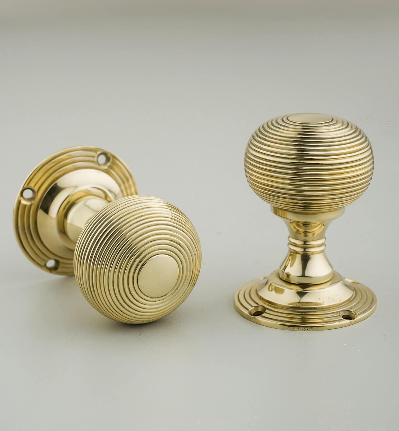 Beehive Empire Door Knobs (Pair) - Brass