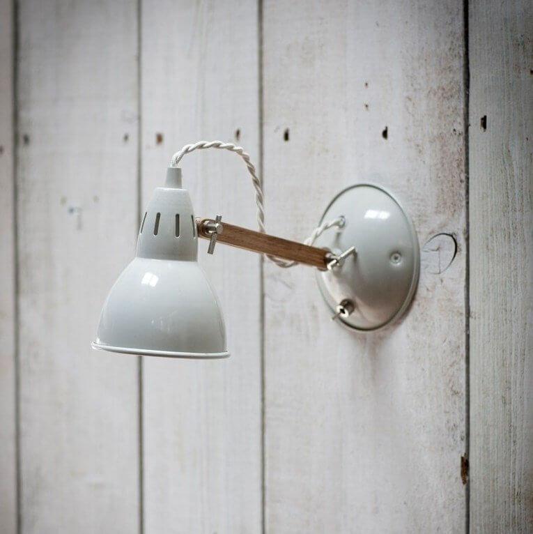 Steel & Oak Wall Light - Chalk SAVE 15%