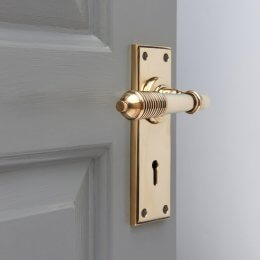 Reeded Lever Lock Set - Brass