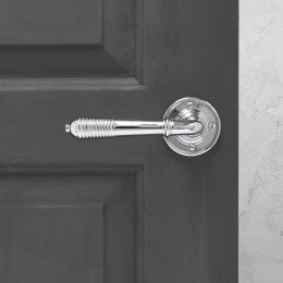 Reeded Lever on Rose (Pair) - Polished Chrome