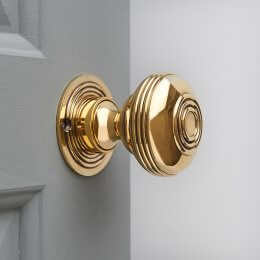 Regency-Style Large Door Knobs (Pair) - Polished Brass