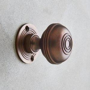 Regency Style Door Knobs (Pair) - Aged Bronze
