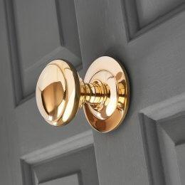 Round Door Pull - Polished Brass