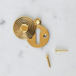 Round Reeded Beehive Escutcheon - Brass