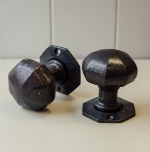 Octagonal Forged Door Knobs (Pair) - Black Waxed (Internal/External)