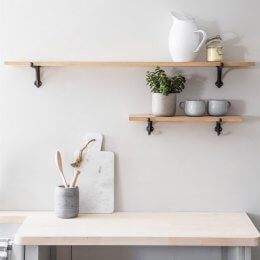 Cast Iron Bracket Shelf - Raw Oak