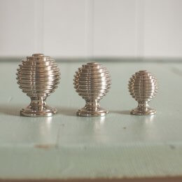 Reeded Cabinet Knob - Polished Nickel