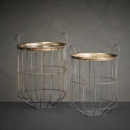 Cage Side Table With Brass Top