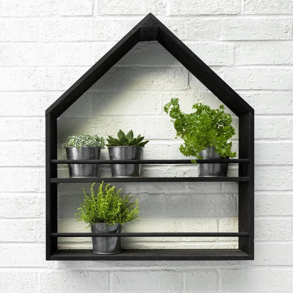Pitched Roof Plant Holder - Black