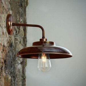 Factory Wall Light in Antique Brass